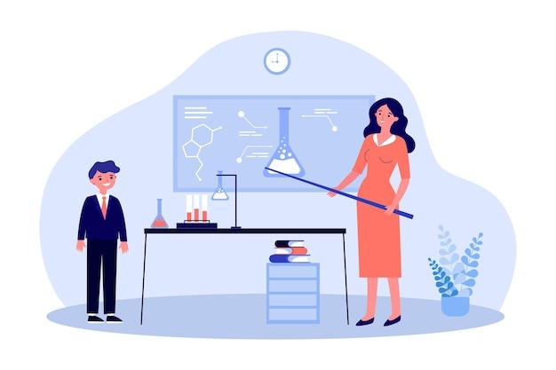 Female teacher explaining chemistry to boy flat illustration