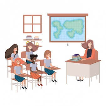 Female teacher in the geography class with students