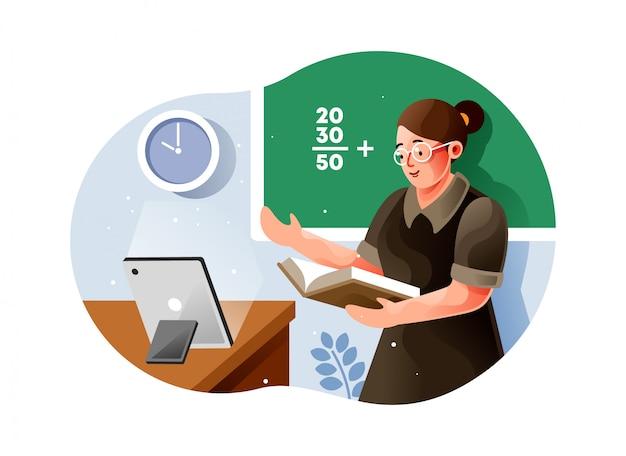 Учительница дает онлайн-урок математики