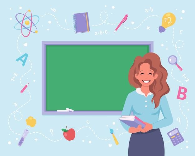 教室の女教師学校の先生の日に戻る