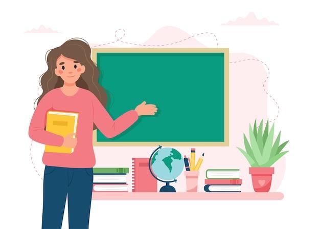 Учительница в классе день учителя концепции школы и обучения