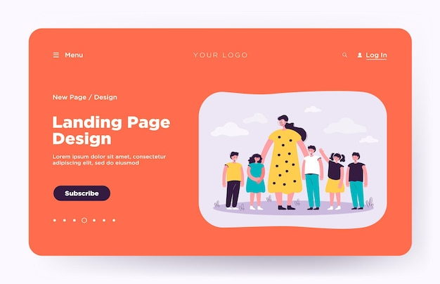 Female teacher and kids walking outdoors landing page