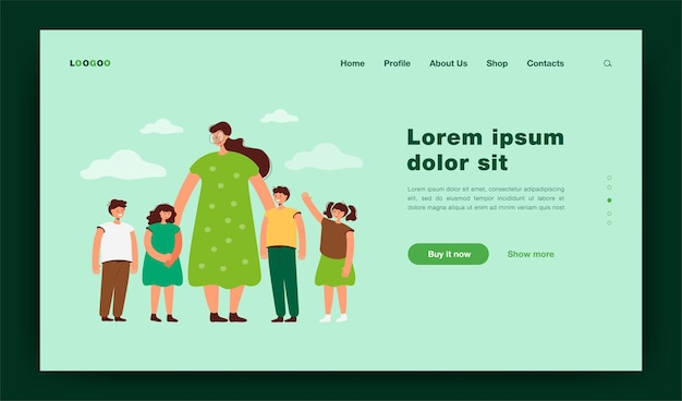 Female teacher and kids walking outdoors. woman watching group of school children on grass.  illustration for pedagogy, education, daycare concept landing page