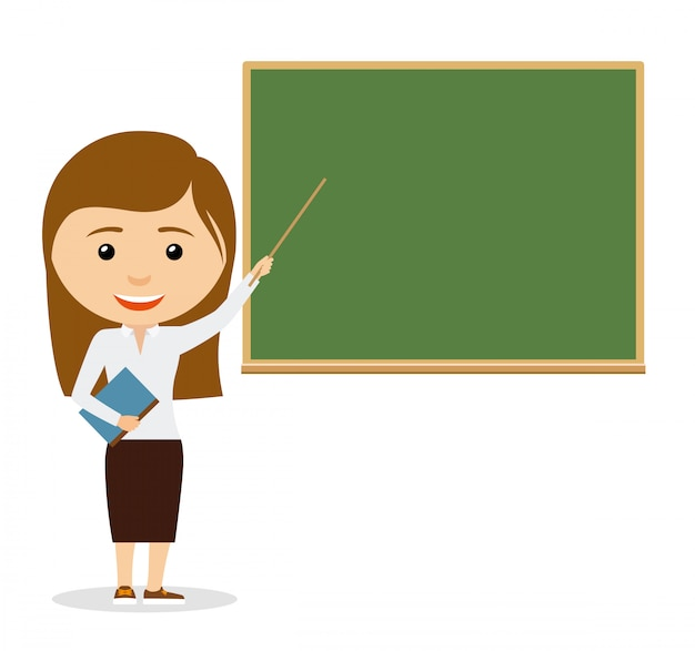 Female teacher on lesson at the chalkboard