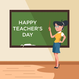 Female teacher pointing on blackboard