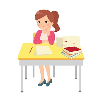 Female teacher show bored expression. tired at work. stressed with pile of work. business clip art. flat style
