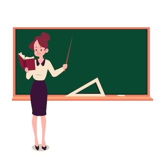 Учительница стоит у доски, держа книгу и указатель