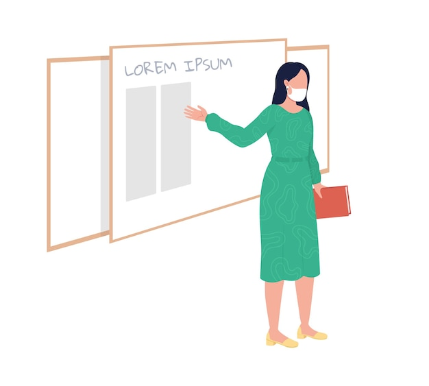 Female teacher stands in front of board semi flat color vector character