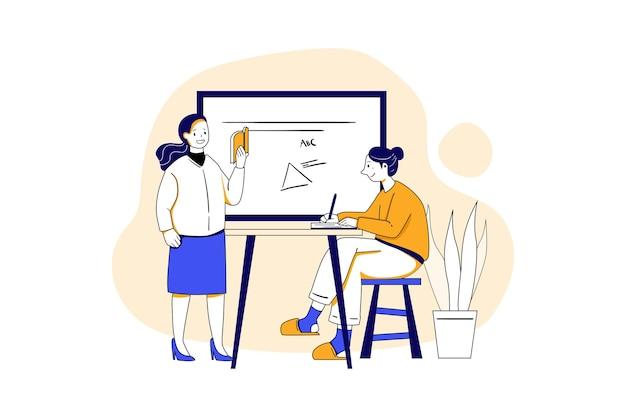 그녀의 학생 교육 그림 개념을 가르치는 여성 교사