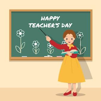 花で飾られた黒板の前の教室で教える女教師。幸せな世界の先生の日。先生への感謝。 。