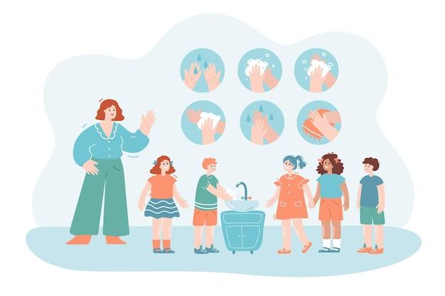 아이들에게 손을 씻도록 가르치는 여성 교사 위생 교육 의료 개념