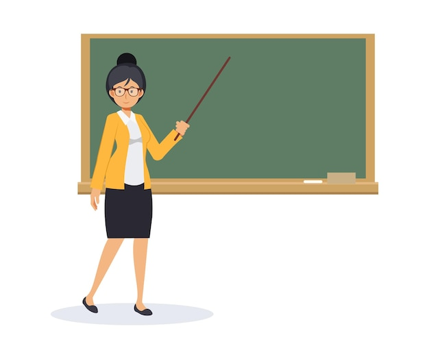 空白の黒板とポインティングスティックを持つ女教師