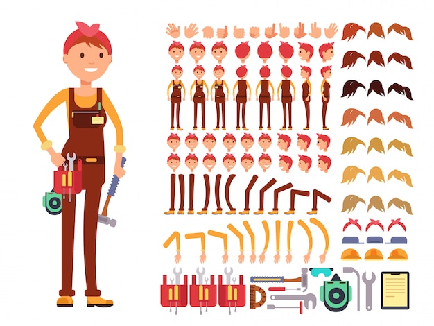 Female technician cartoon vector character. woman mechanic in jumpsuit creation constructor with bod