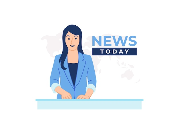 Female television news anchor in broadcast room studio concept illustration