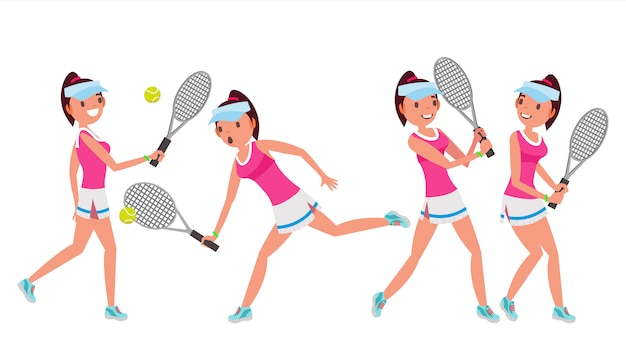 Female tennis player character set