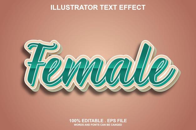 Женский текстовый эффект редактируемый
