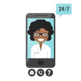 スマートフォンの画面上の女性セラピスト。医師相談、遠隔医療、医療支援申請