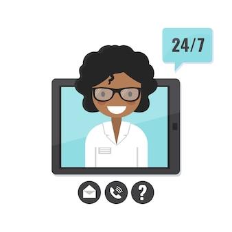 タブレット画面の女性セラピスト。医師相談、遠隔医療、医療支援申請