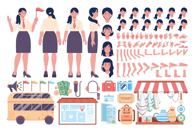 Female tour guide items set. touristic entertainment equipment. tour bus and map, museum tickets. idea of city traveling. tourist site and attractions. isolated vector illustration