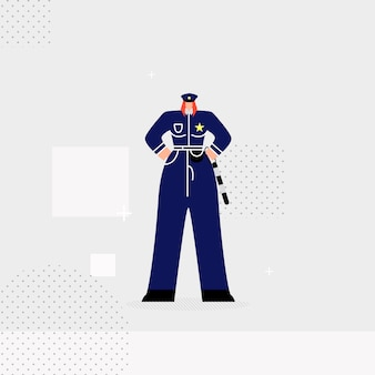 Female traffic controller flat vector illustration