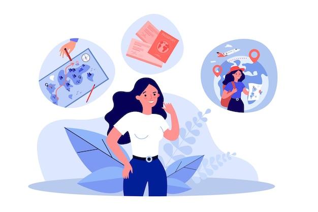 여성 여행자 만화 캐릭터 여행 계획. 배낭과 지도, 티켓, 여권 평면 벡터 삽화를 가진 여자. 여행, 배너, 웹 사이트 디자인 또는 방문 웹 페이지에 대한 관광 개념