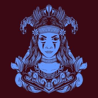 여성 부족 삽화 그림