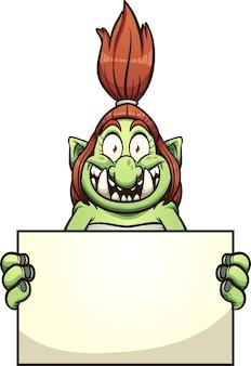 Женский тролль с большой улыбкой держит пустую иллюстрацию доски.