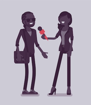 Репортер-женщина берет интервью у телеканалов. женщина, держащая интервью с мужчиной, профессиональным журналистом в разговоре по радио, в газете, спрашивает мнение. векторная иллюстрация, безликие персонажи