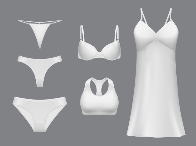 Female underwear  .  lingerie, realistic collection of elegant nightie, panties string, bikini, tanga and bra. modern women underwear, white apparel template, linen for girl set