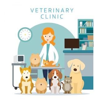 Женский ветеринар с домашними животными, кошками и собаками