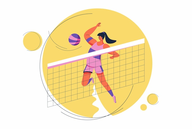 A female volleyball player slams the ball over the net to determine the set score. at the world volleyball championship.