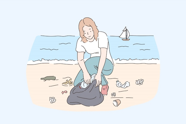 Female volunteer cleaning beach, save planet and nature protection . young woman collecting plastic disposable bottles, picking waste and rubbish at seashore. simple flat