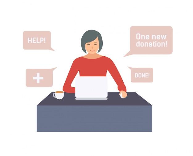 도움이 필요한 사람들을 위해 온라인으로 돈을 모금하는 여성 자원 봉사자. 인터넷 자원 봉사 및 기부 수집 어린 소녀.