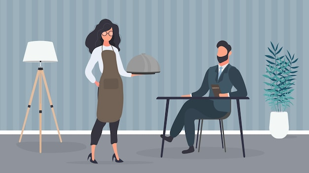 A female waiter is holding a dish with a metal lid. a man is served food. restaurant service concept. vector.