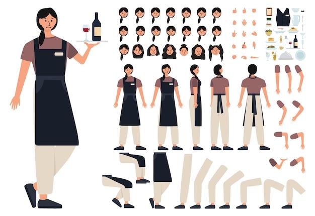 Женский конструктор концепции официантки установлен. персонал ресторана в форме, работник общепита. прием заказов и обслуживание клиентов. отдельные векторные иллюстрации в мультяшном стиле
