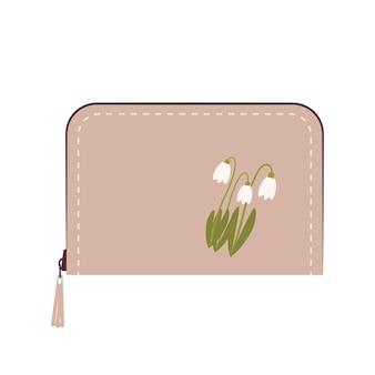 돈과 신용 카드에 대한 여성 지갑 아이콘 여행 급여 및 쇼핑을위한 세련된 아이템