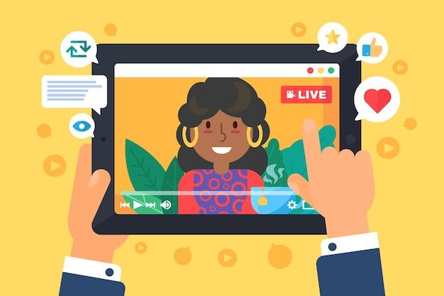 Иллюстрация концепции женского веб-стримера