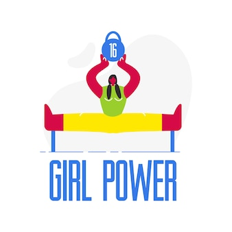 Female weightlifter flat illustration. girl power
