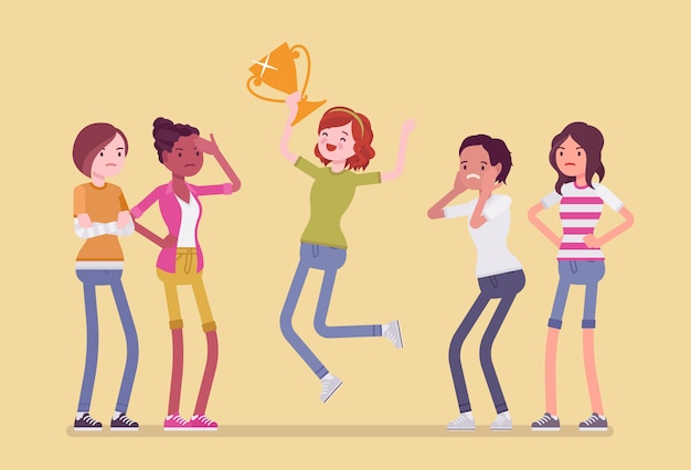 Female winner and envious friends. girl jumping happy to win a prize, surpassed all rivals in contest or competition, other feel jealous about her achievement.   style cartoon illustration