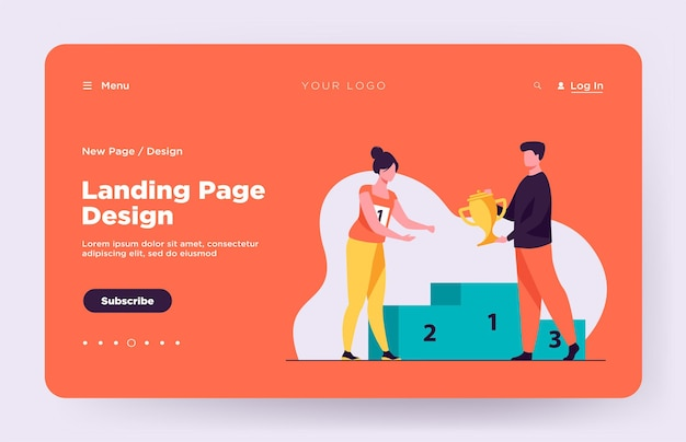 Female winner getting first prize landing page
