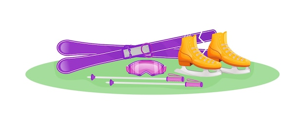 女性のウィンタースポーツギアフラットコンセプトイラスト