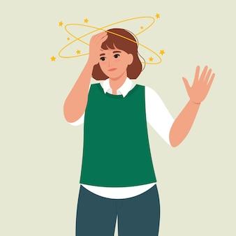 머리 주위를 도는 노란색 별을 가진 여성은 현기증을 느끼는 벡터 일러스트레이션