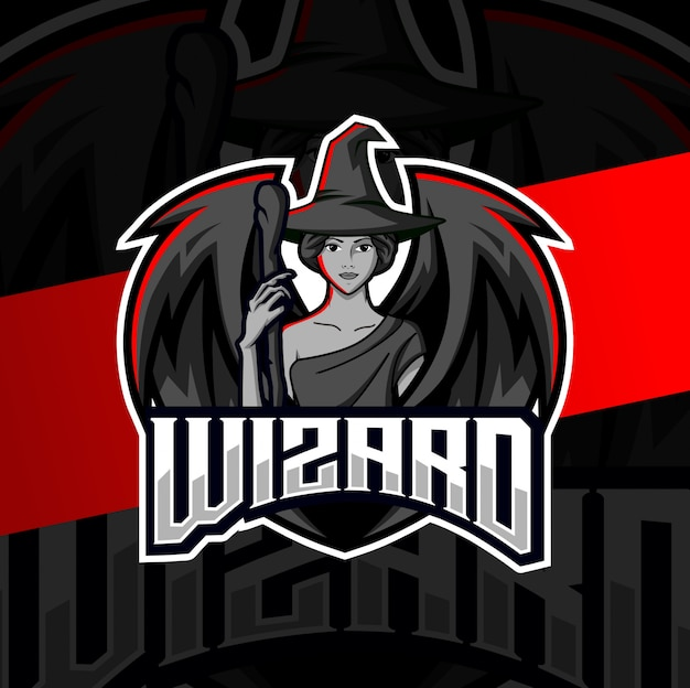 Female wizard mascot esport logo design