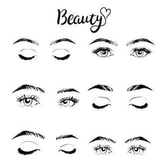 여성 여성의 눈과 눈썹 이미지 컬렉션 집합입니다.