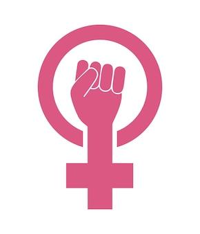 女性女性フェミニズム抗議の概念。白い背景で隔離の女の子のパワーベクトルアイコン