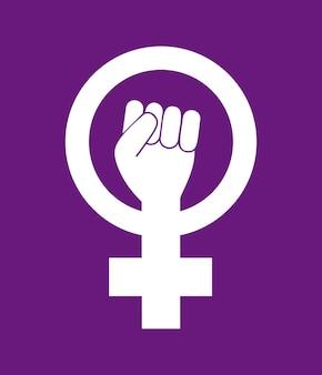 女性女性フェミニズムはシンボルに抵抗します。紫色の背景に分離された女の子パワー白いベクトルアイコン。女の子のように戦う