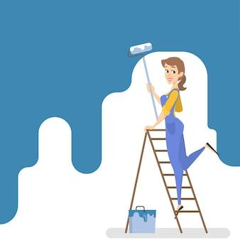 Работница красит стену синей краской и валиком. улыбается женщина украшения комнаты. иллюстрация