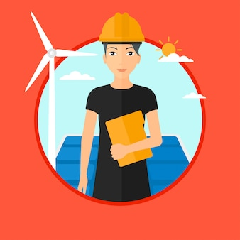 Female worker of solar power plant and wind farm.