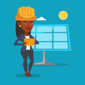 Female worker of solar power plant.