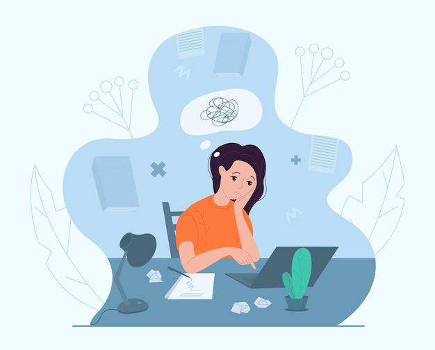 Писательница переживает творческий кризис, векторные иллюстрации. беспокойство, усталость, головная боль, стресс, депрессия, выгорание